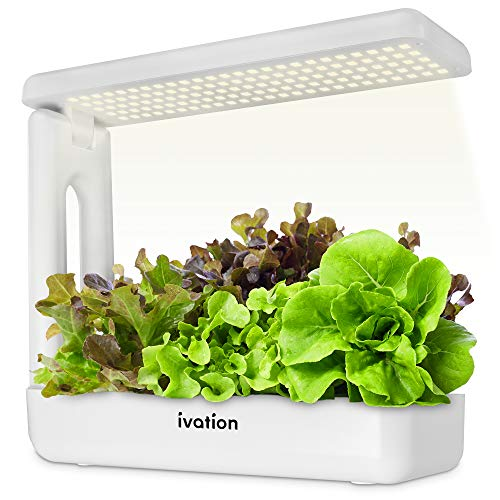 Ivation Herb Indoor Garden Kit | Complete Hydroponic Grow System for Herbs, Plants & Vegetables with LED Light, Seeding Box & Sponge Cubes, Planting Pods & Hats, Nutrients & Tweezers | Just Add Seeds!