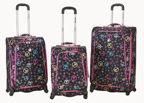 Rockland Luggage Fusion 3 Piece Luggage Set, Peace, Medium