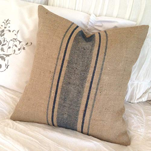 alerie Sassoon French Grainsack Burlap Pillowcase Cushion Cover with Blue Stripes FarmhouseLakehouseBeachNauticalCoatalRusticCottage Chic -
