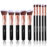 Qivange Makeup Brushes, Vegan Face Blending Brush Powder Liquid Foundation Eye Shadow Labeled Kabuki Brush(Black with Rose Gold, 10 Pieces)
