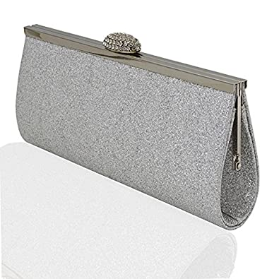 d3614f0a81 WOMENS EVENING BAGS GLITTER SPARKLY SATIN SILVER WHITE IVORY BRIDAL PROM  PARTY: Amazon.co.uk: Shoes & Bags