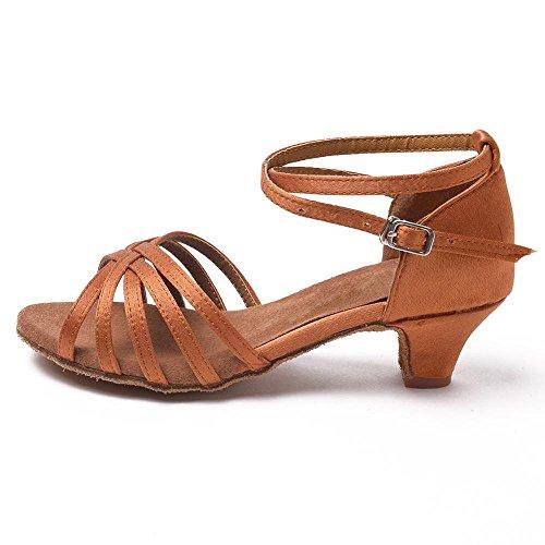 Yff Kids Girls Ballroom Latin / Professionnel Chaussures De Danse Tango Salsa Avec Des Chaussures À Talons Femmes, Brown1,5