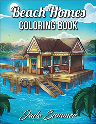 Book's Cover of Beach Homes: An Adult Coloring Book with Beautiful Vacation Houses, Charming Interior Designs, and Relaxing Nature Scenes (Inglés) Tapa blanda – Texto grande, 14 octubre 2019