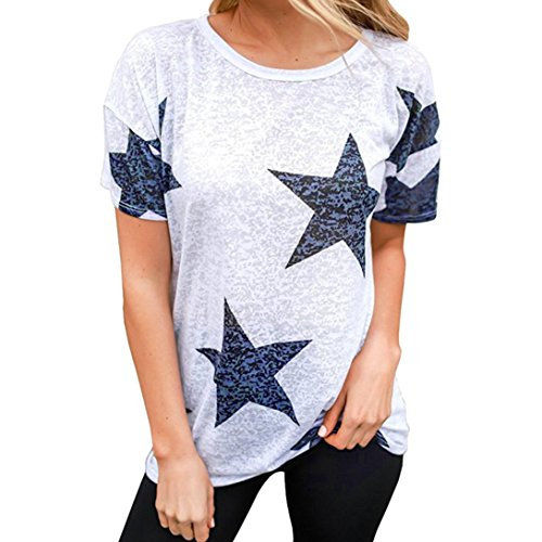 YKA Women Ladies Star T-Shirt Short Sleeve Round Neck Casual Tops Blouse...