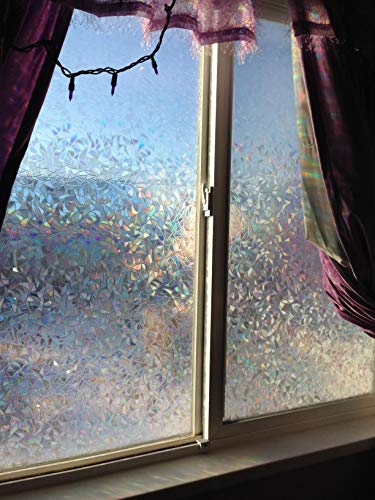 Decorative Window Film Privacy, Translucent Stained Glass Effect Static Cling Window Tint - Provide Security, Heat Control, Anti UV for Home Office Door Kitchen Bedroom (Crescents, 17.7 x 78.7 In.) ()