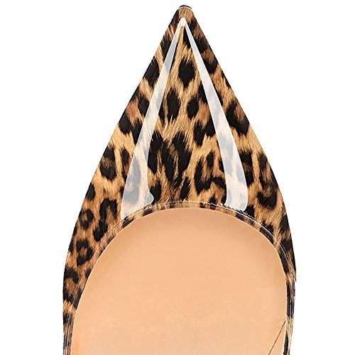 tacón con tacón punta cerrados de leopardo de alto Zapatos 12 alto mujer Jushee de punta en cm XPqEvcc