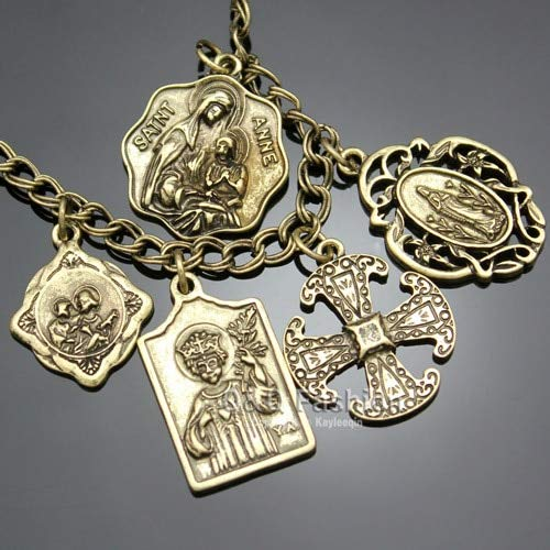 (Vintage Style Catholic Religious Church Medals Gold, Silver Bracelets )