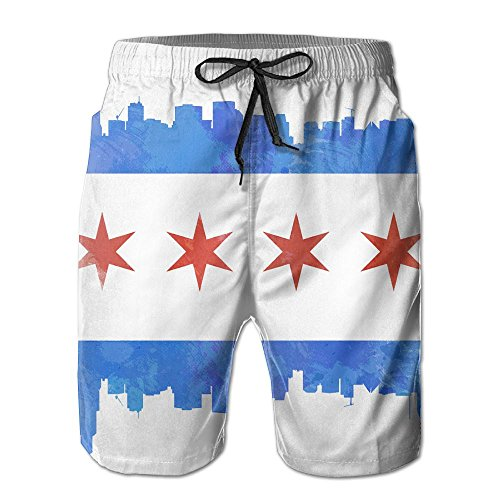 SUNSUNNY Men's Chicago City Flag Beach Short Beach - Shorts Chicago Flag Mens