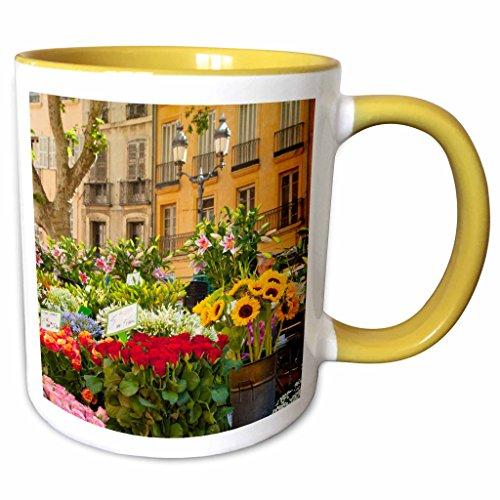 Aix En Provence Christmas Market - 3dRose Danita Delimont - Flowers - Flowers on market day in Aix-en-Provence, France - EU09 BJN0030 - Brian Jannsen - 11oz Two-Tone Yellow Mug (mug_135837_8)