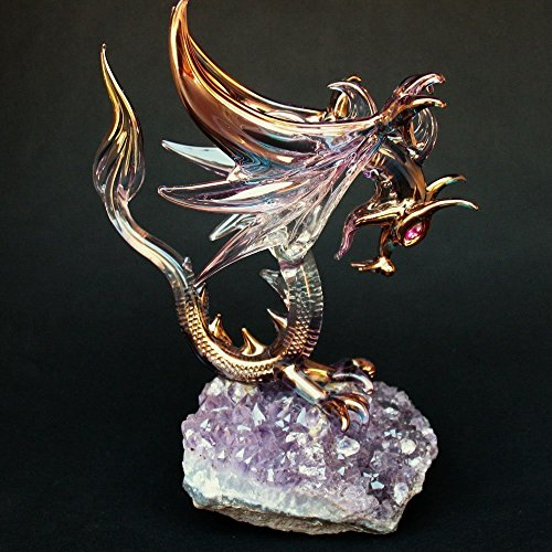 Dragon Figurine of Hand Blown Glass Winged Flying