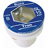 Bussmann SL-15PK4 15 Amp Time Delay Loaded Link Rejection Base Plug Fuse, 125V UL Listed, 4-Pack