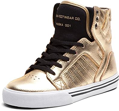 11d20291b9b Supra Kids Skytop Size 6.5 Gold/Black-White Skate Shoes: Amazon.co ...