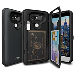LG G5 Case, TORU [LG G5 Wallet Case] Protective Slim Fit Dual Layer Hidden Credit Card Holder ID Slot Card Case with Mirror and USB Adapter for LG G5 (2016) - Metal Slate