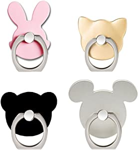 ANIN Cell Phone Ring Holder, 4 Packs Animal Finger Grip Kickstand Stand for Universal Smartphone iPhone Samsung Galaxy S8 LG Huawei - Cat, Bear, Rabbit, Mouse