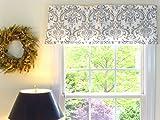 Appleberry Attic Window Valance Damask, White & Grey For Sale