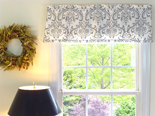 Valance Window Damask - Appleberry Attic Window Valance Damask, White & Grey