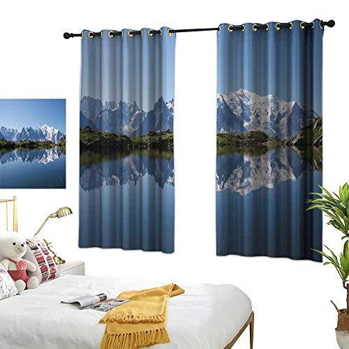 TRTK Bedroom Curtains Lake,Mont Blanc Mountain Range Reflected in Cheserys Lake Alps France Panorama,Pale Blue White GreenDarkening Thermal Insulated Curtain Grommet Panels for Bedroom W63 x L72