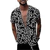 Shirt for Men, F_Gotal Men's T-Shirts Fashion Short Sleeve Baggy Leopard Print Button Retro Tees Blouse Tops