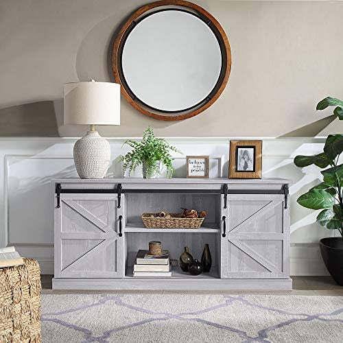 """BELLEZE Modern 58"""" Living Room Storage Barn Wood TV Stand Media Console for TVs Up to 65"""", Stone Grey"""