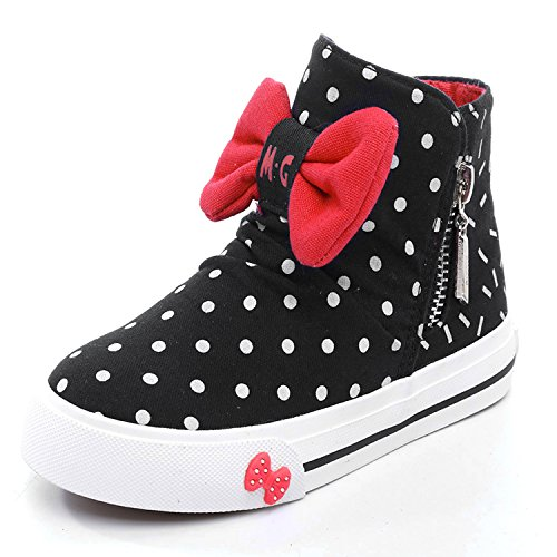 Price comparison product image Alexis Leroy Kids' Shoes Girls'High-Top Zipper Canvas Shoes Black 28 M EU/11 M US Little Kid