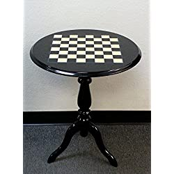 Round Briarwood Black & White Lacquered Chess Table