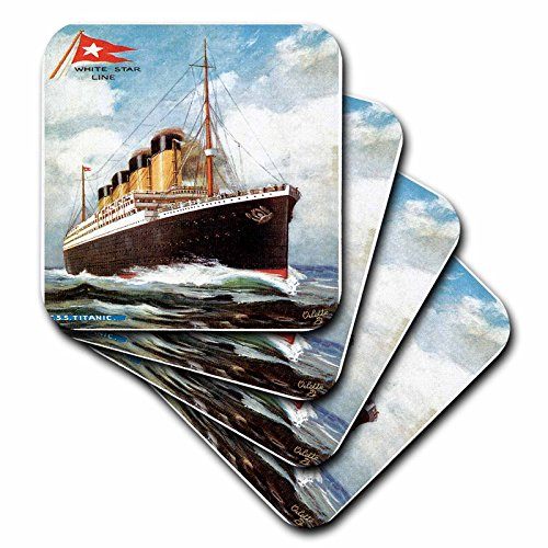 (3dRose CST_149236_1 Vintage White Star Line S.S. Titanic Soft Coasters, Set of 4)
