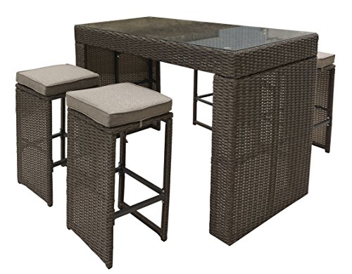 Oasis 5 Piece - Pangea Home X 5PC BRN Oasis 5 Piece Bar Set, Brown Fabric/Tonal Rattan
