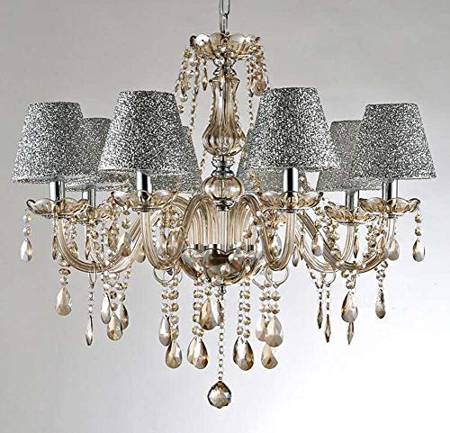 ChuanHan Crystal Pendant Lamp European Style Crystal Candle Chandelier, Vintage Traditional/Classic Modern/Contemporary, 110-120V 220-240V Bulb Not Included, 8 Heads with Lampshade