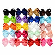 20pcs/lot 3.3 Inch Style Solid Grosgrain Ribbon Bows With Hair Clips Baby Boutique kids Girls Hair Headband Accessories