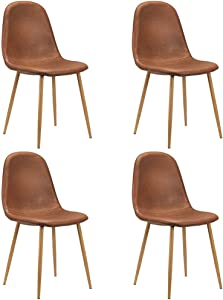 CangLong Washable PU Cushion Seat Back, Mid Century Metal Legs for Kitchen Dining Room Side Chair, Set of 4, Brown