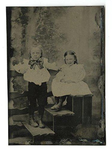 19th Century Fashion - Original Vintage Tintype Photo - Children's Portrait