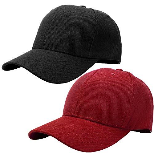 Falari Baseball Cap Adjustable Size Solid Color G001-01-Black & 28-Burgundy