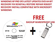 WINDOWS XP PRO SP3 LATEST UPDATES DVD 64-BIT RECOVERY FIX REINSTALL RESTORE REPAIR REBOOT RECOVERY INSTALL COM