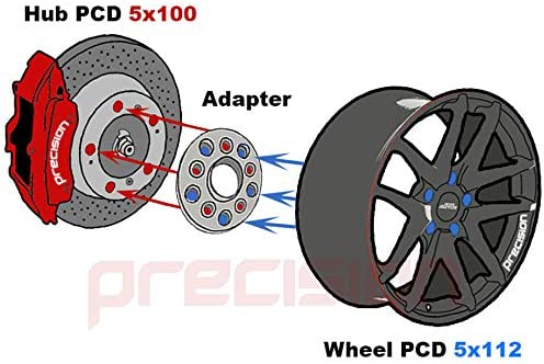 Precision 1 Pair of 20mm Hubcentric PCD Adapters 5x112 Hub to 5x100 Wheel for /Àudi A3 PN.SFP-2AD05+10SB01116 8P