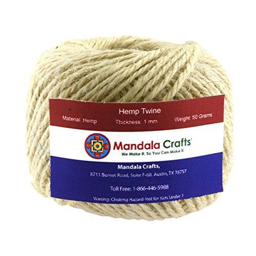 Cream Rope (Mandala Crafts 1.5mm 170FT Colored Natural Rustic Hemp Twine Thread Cord Burlap String Rope Spool Roll (Cream))