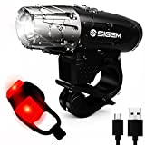 SIGEM Bike Light Set, Ultra Bright, USB Rechargeable, Premium LED Front Headlight and Rear Taillight. Both Bicycle Head & Tail Lights are Waterproof, Easy to install.