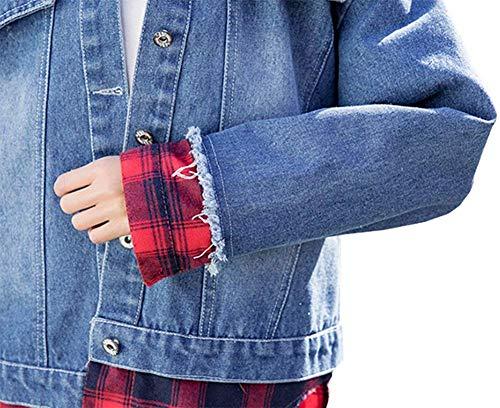 Cappuccio Jeans Strappato Cucitura Lunga Outerwear Reticolo Manica Giacca Casuale Eleganti Marca Mantello Giacche Baggy Primaverile Con Cavo Bolawoo Autunno Di Fashion Donna Mode Blau 1ZqqX