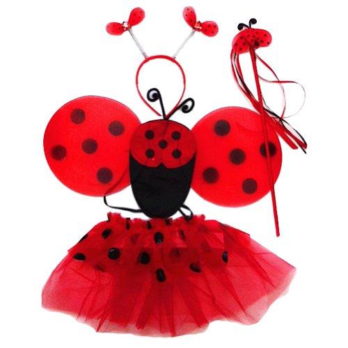 Girls Ladybug 4 Piece Tutu Set (Red & Black, One Size)