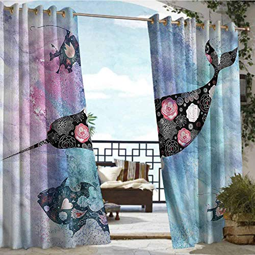 Price comparison product image Andrea Sam Outdoor Balcony Privacy Curtain Narwhal, Floral Whale and Fish, W84 xL84 for Front Porch Covered Patio Gazebo Dock Beach Home