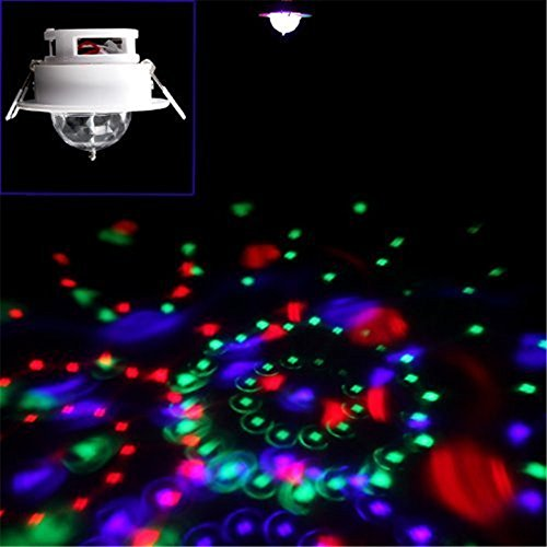 PYSICAL(TM) 3W RGB Ceiling Stage Light Full Color LED Voice-activated Rotating Ceiling Lamps Spot DJ Disco Crystal Bulb Lamp