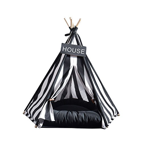 Pet Supplies Black And White Strip Style Pet Teepee and Kennels Dog Play House Play Tent Cat Bed 24 Inch With Cushion