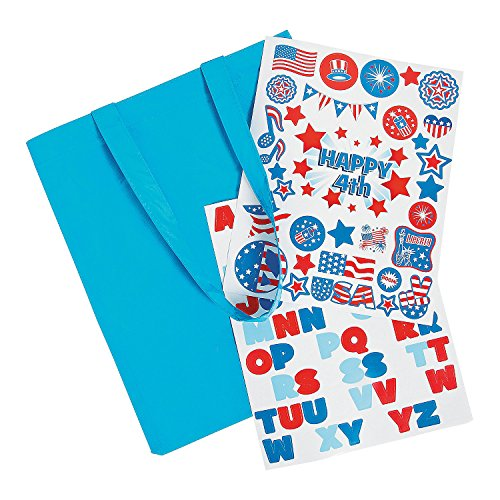 Fun Express Laminated Tote Bag Craft Kit | 6 Bags, 2 Sticker Sheets | Great for USA or 4th of July Themed Event, Birthday Party Favors, Loot Bag Prizes, DIY Set