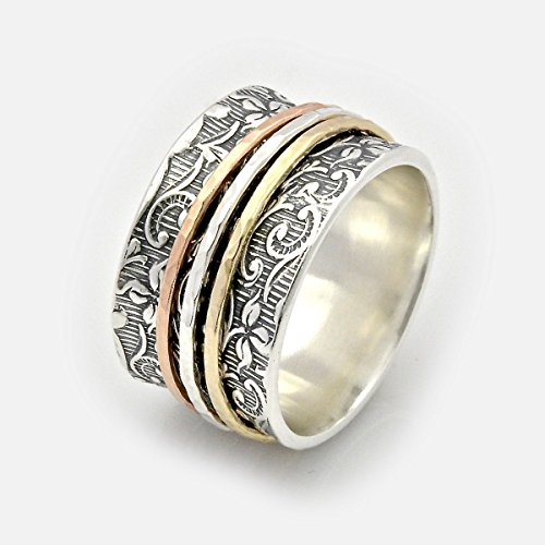 Two tone filigree spinner wedding band ring sizes 5 to 11