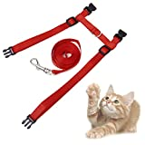 Adjustable-Pet-Cat-Kitten-Belt-Collar-Leash-Harness-Safety-Strap-Traction-Rope-Red