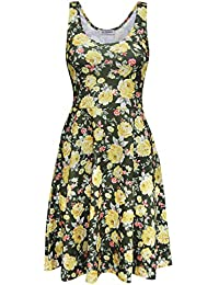 Womens Casual Fit and Flare Floral Sleeveless Dress