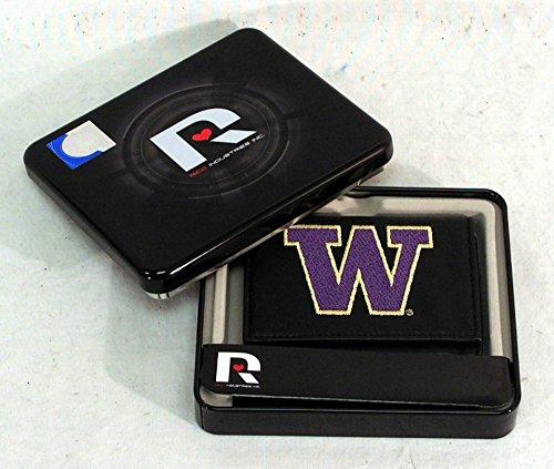 Rico Sporting Goods 138916 Washington Huskies Mens Black Leather Tri-fold Wallet