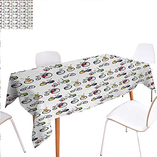 Warm Family Bicycle Rectangular Tablecloth Hand Drawn Penny-Farthing Tandem and City Bikes with Colored Rims Cartoon Style Oblong Wrinkle Resistant Tablecloth 60