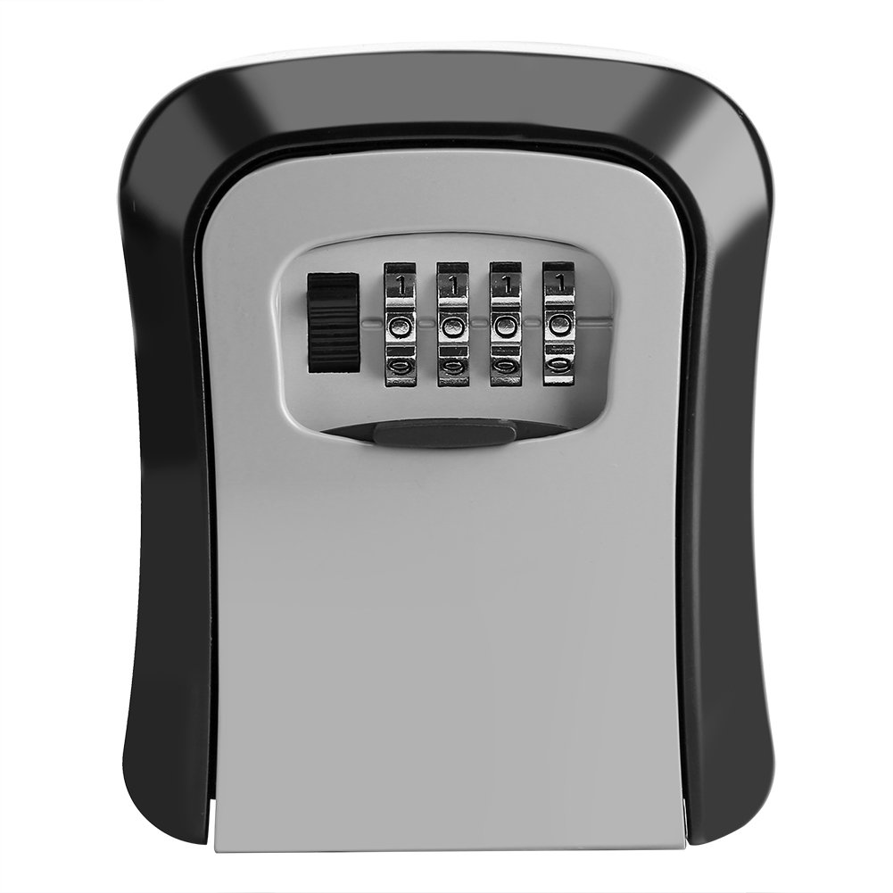 Key Lock Box, Wall Mounted Stainless Steel Key Safe Security Lock Storage Organizer Box Weatherproof with 4 Digits Code Password Combination Mounting Kit for Indoor Outdoor Home Family Realtor