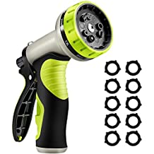VicTsing Upgraded Version Garden Hose Nozzle, 9 Patterns Heavy-Duty Spray Nozzle with 10 Washers, Thumb Control and Slip Resistant TPR Cover for Watering Plants, Washing Cars, and Showering Pets