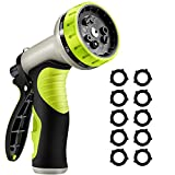 VicTsing 2nd Version Garden Hose Nozzle, 9 Patterns Heavy-Duty Metal Spray Nozzle